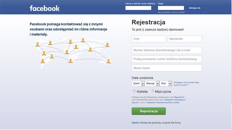 nowe konto na facebook