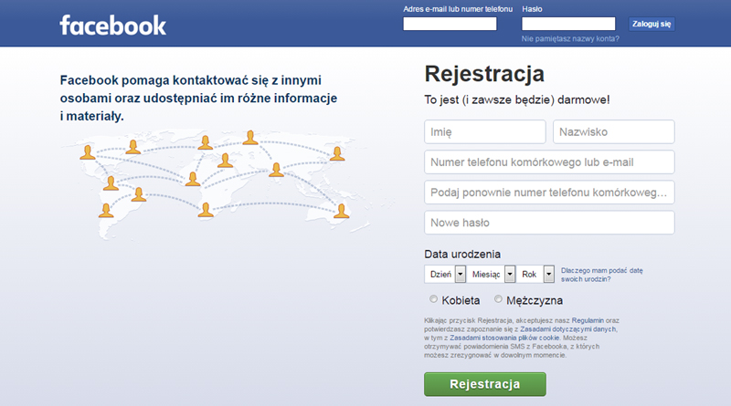 zakładanie konta FB